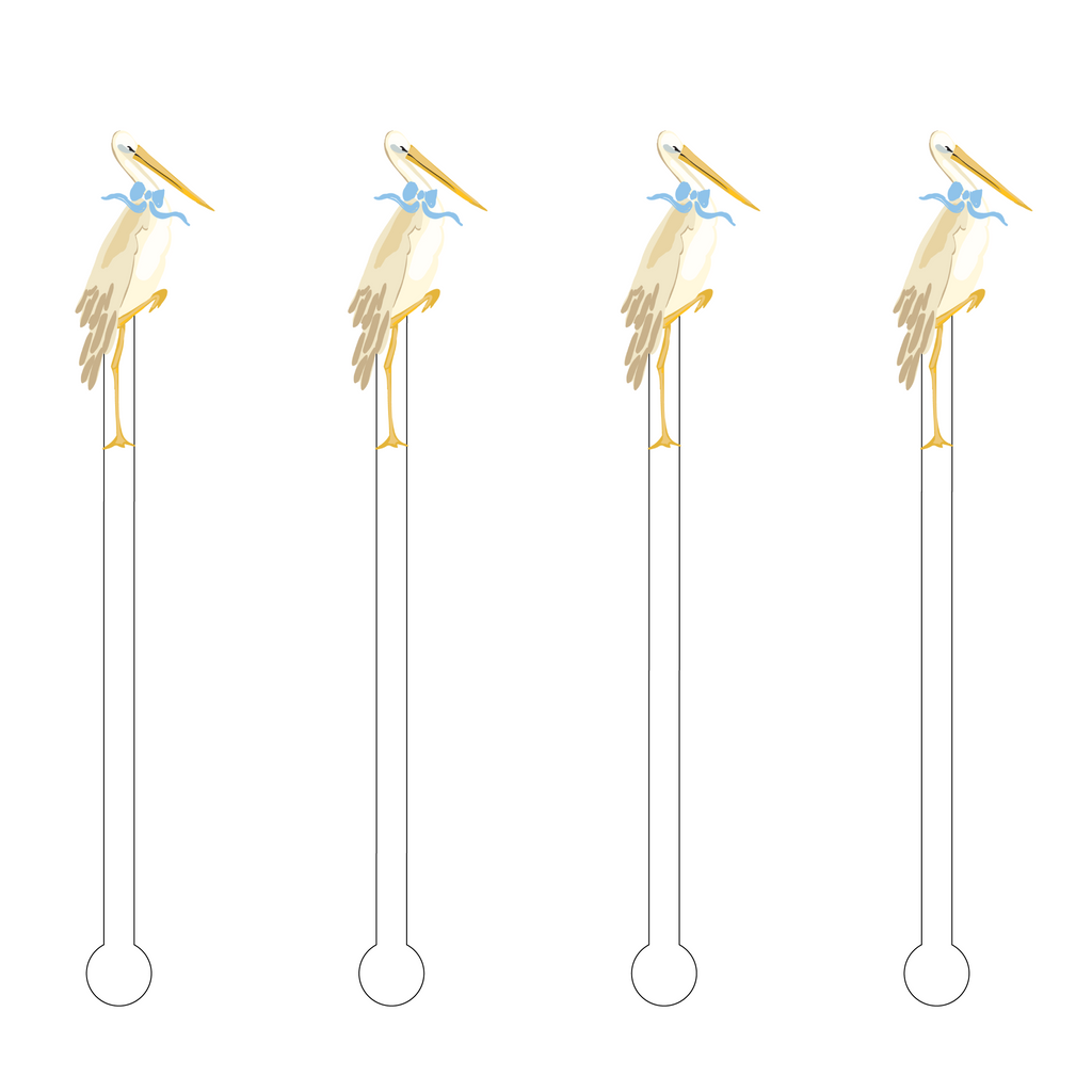 BABY BOY STORK ACRYLIC STIR STICKS