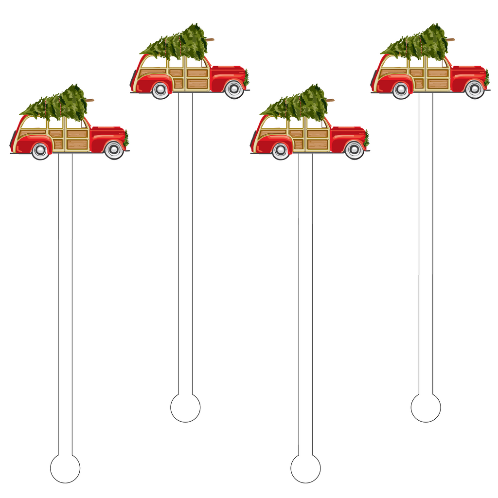 CHRISTMAS FAMILY WAGON ACRYLIC STIR STICKS