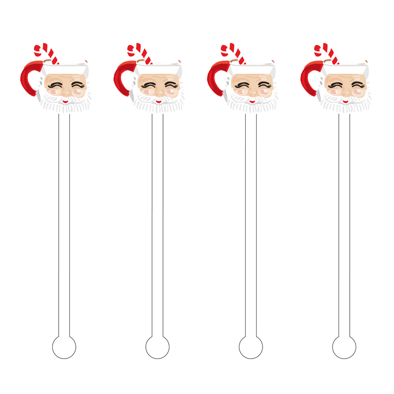 SANTA & CANDY CANE MUG ACRYLIC STIR STICKS