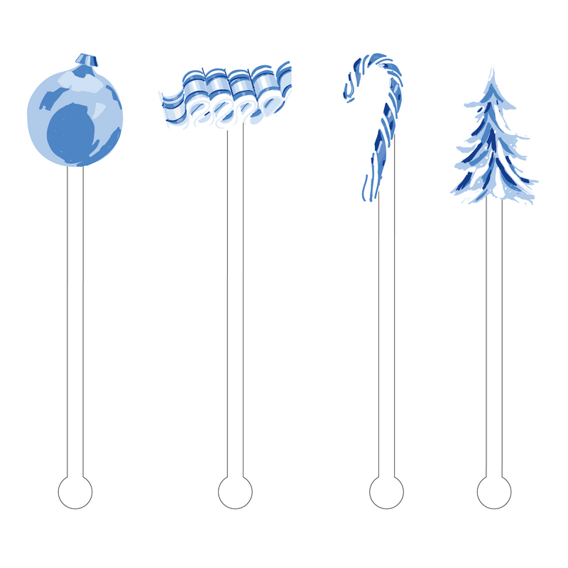 BLUE & WHITE HOLIDAY ACRYLIC STIR STICKS COMBO
