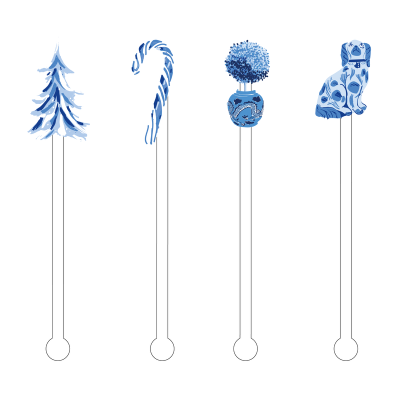 IT'S A BLUE & WHITE CHRISTMAS ACRYLIC STIR STICKS COMBO