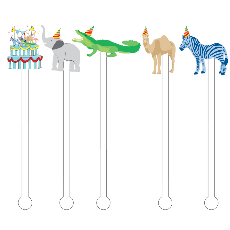 BIRTHDAY CIRCUS ACRYLIC STIR STICKS COMBO*