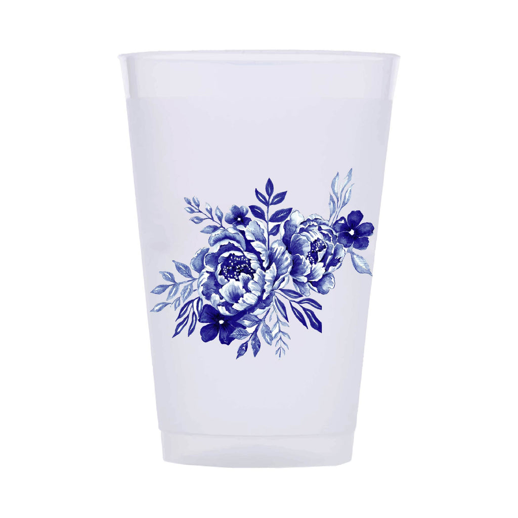 BLUE + WHITE ROSE SHATTERPROOF CUPS*