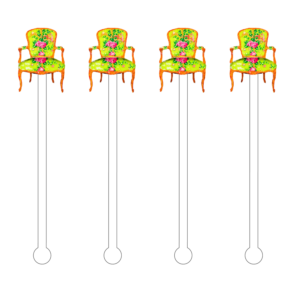 FLORAL BERGERE CHAIR ACRYLIC STIR STICKS