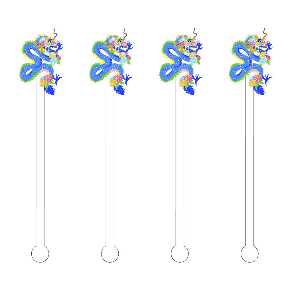 BLUE EAST ASIAN DRAGON ACRYLIC STIR STICKS