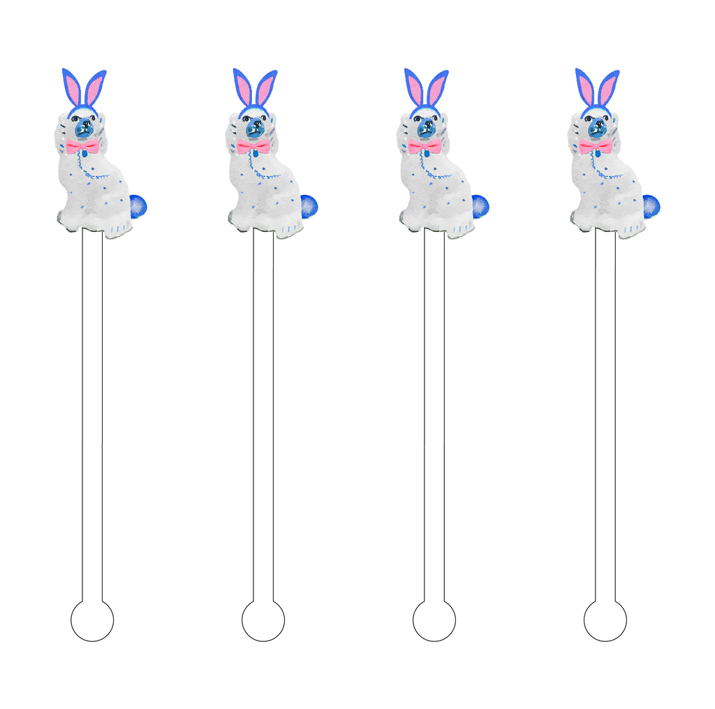 EASTER BUNNY STAFFORDSHIRE PUP ACRYLIC STIR STICKS