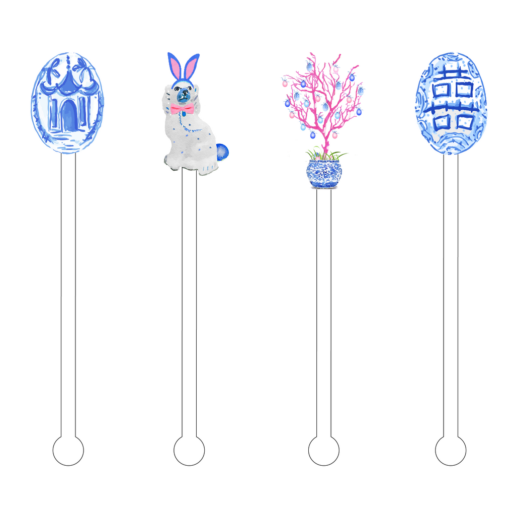 BLUE & WHITE EASTER ACRYLIC STIR STICKS COMBO