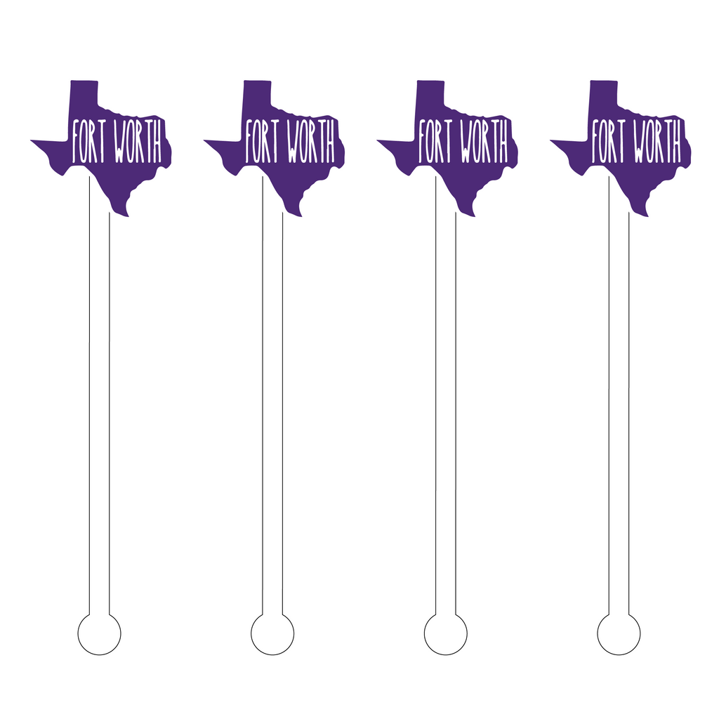 PURPLE FORT WORTH TEXAS ACRYLIC STIR STICKS