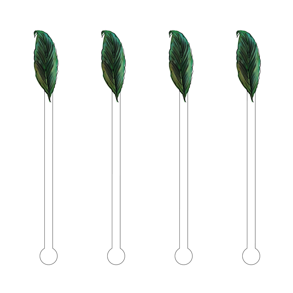 TROPICAL LEAF ACRYLIC STIR STICKS