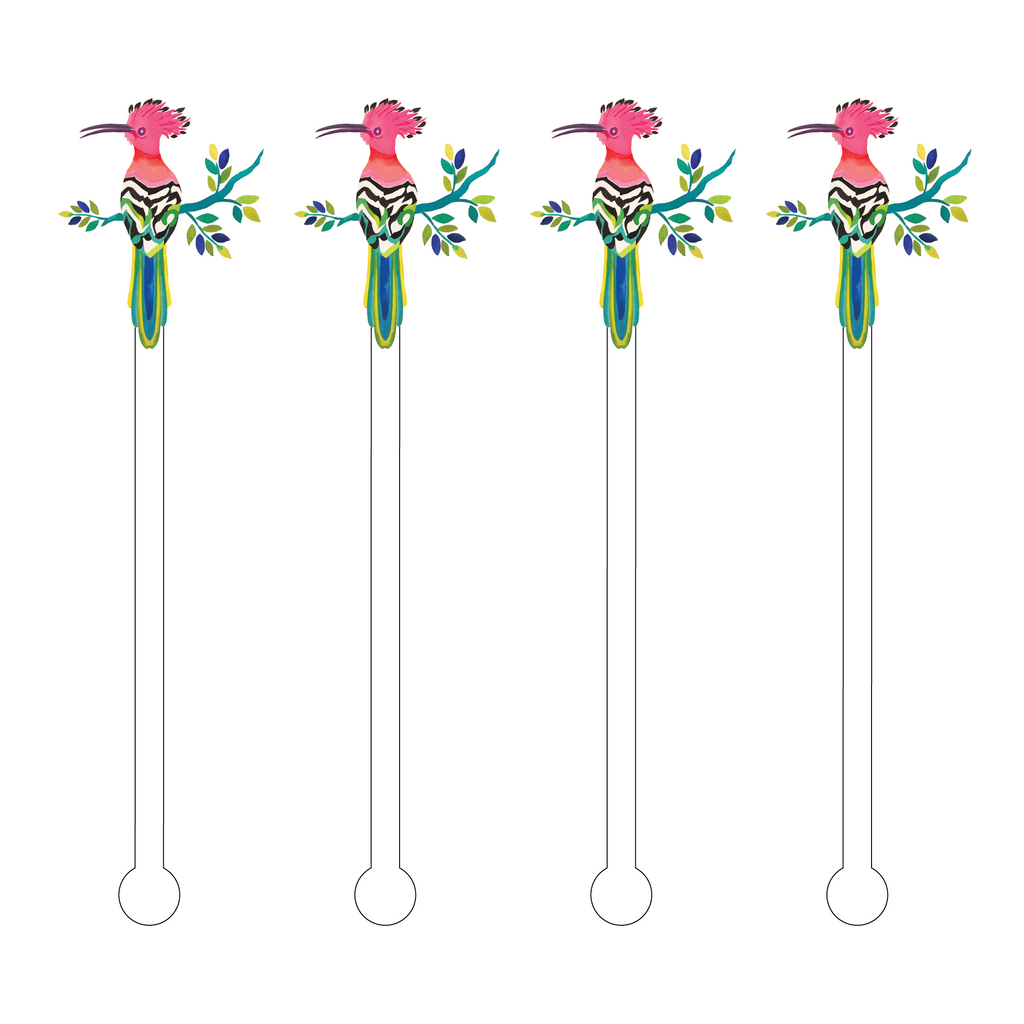 COUTURE BIRD ON FLOWERING BRANCH ACRYLIC STIR STICKS