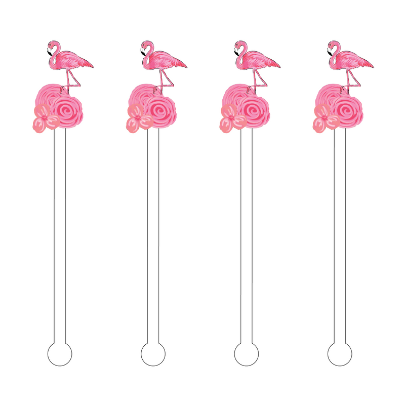 FLAMINGO ON FLOWER ACRYLIC STIR STICKS