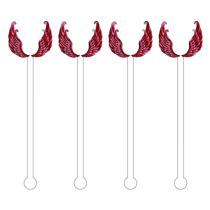 WINE ANGEL WINGS ACRYLIC STIR STICKS