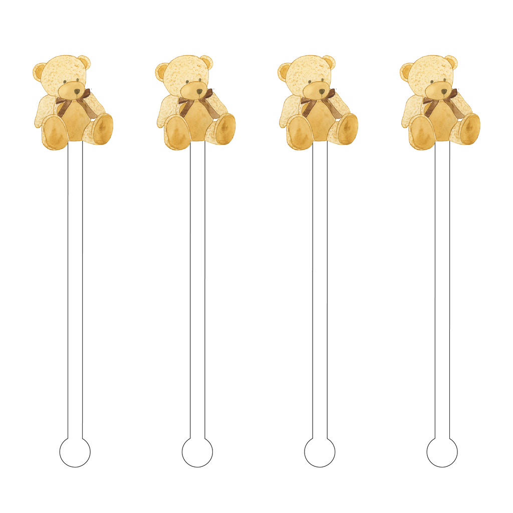 TEDDY BEAR ACRYLIC STIR STICKS