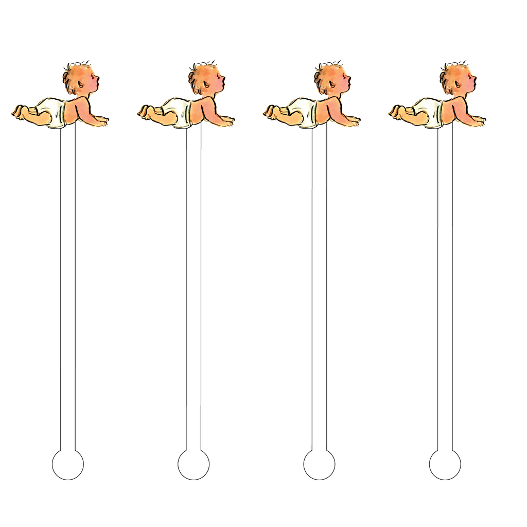 CRAWLING BABY ACRYLIC STIR STICKS