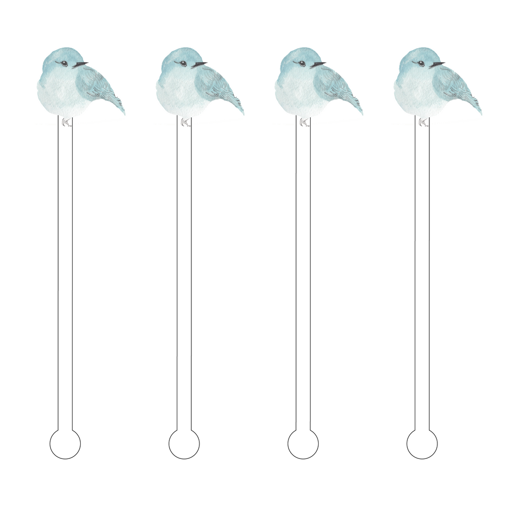 SWEET BLUE BIRD ACRYLIC STIR STICKS