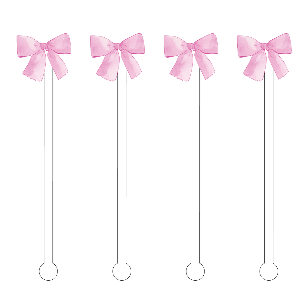 PINK BOW ACRYLIC STIR STICKS