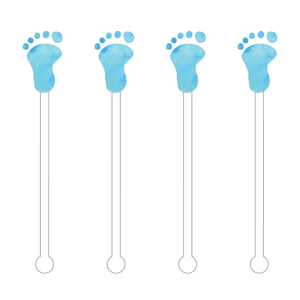 BLUE BABY FOOTPRINT ACRYLIC STIR STICKS