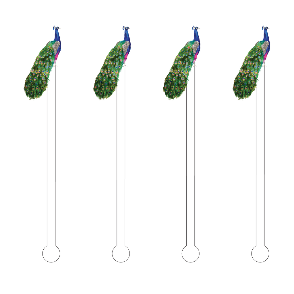 PEACOCK ACRYLIC STIR STICKS
