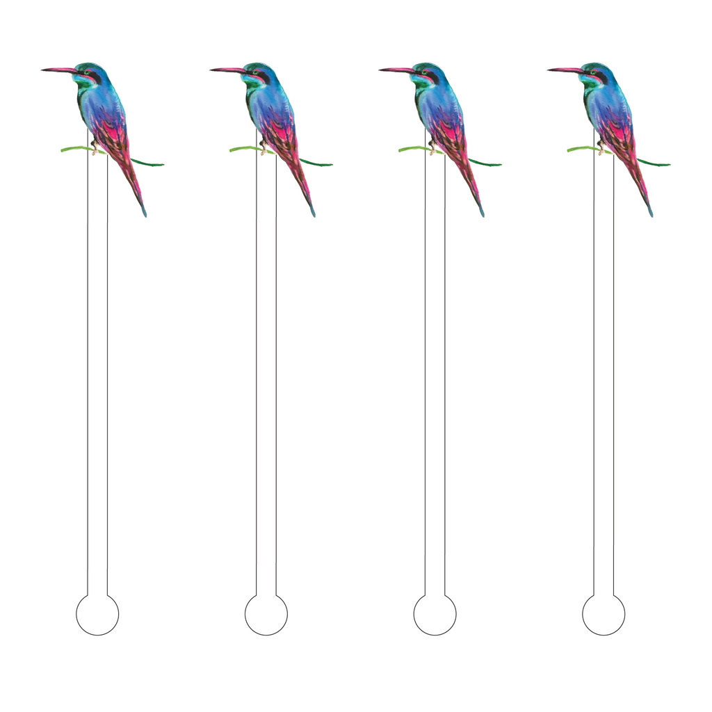 BLUE HUMMINGBIRD ACRYLIC STIR STICKS