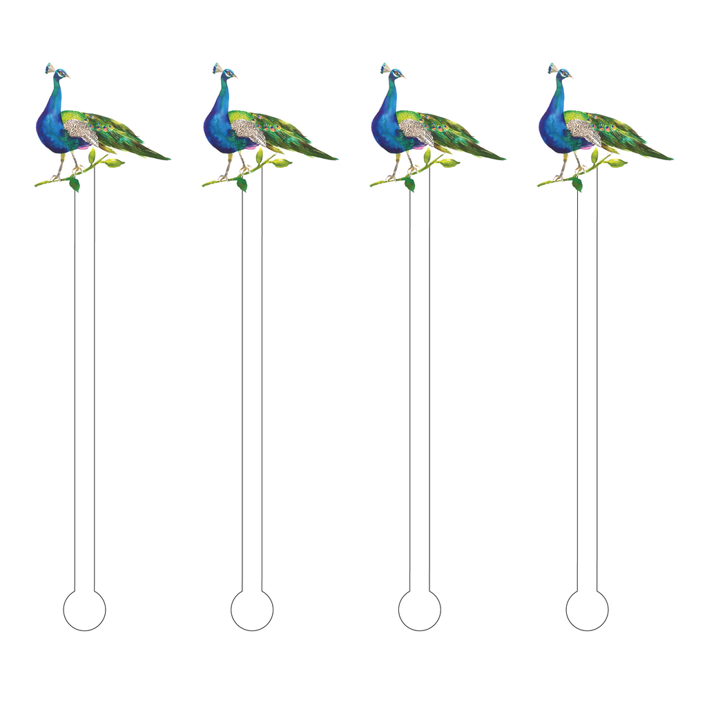 PERCHING PEACOCK ACRYLIC STIR STICKS
