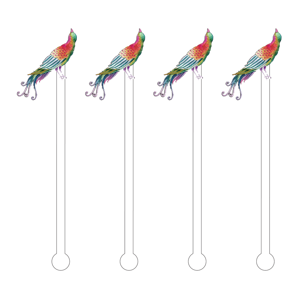EXOTIC LOOKING UP BIRD ACRYLIC STIR STICKS