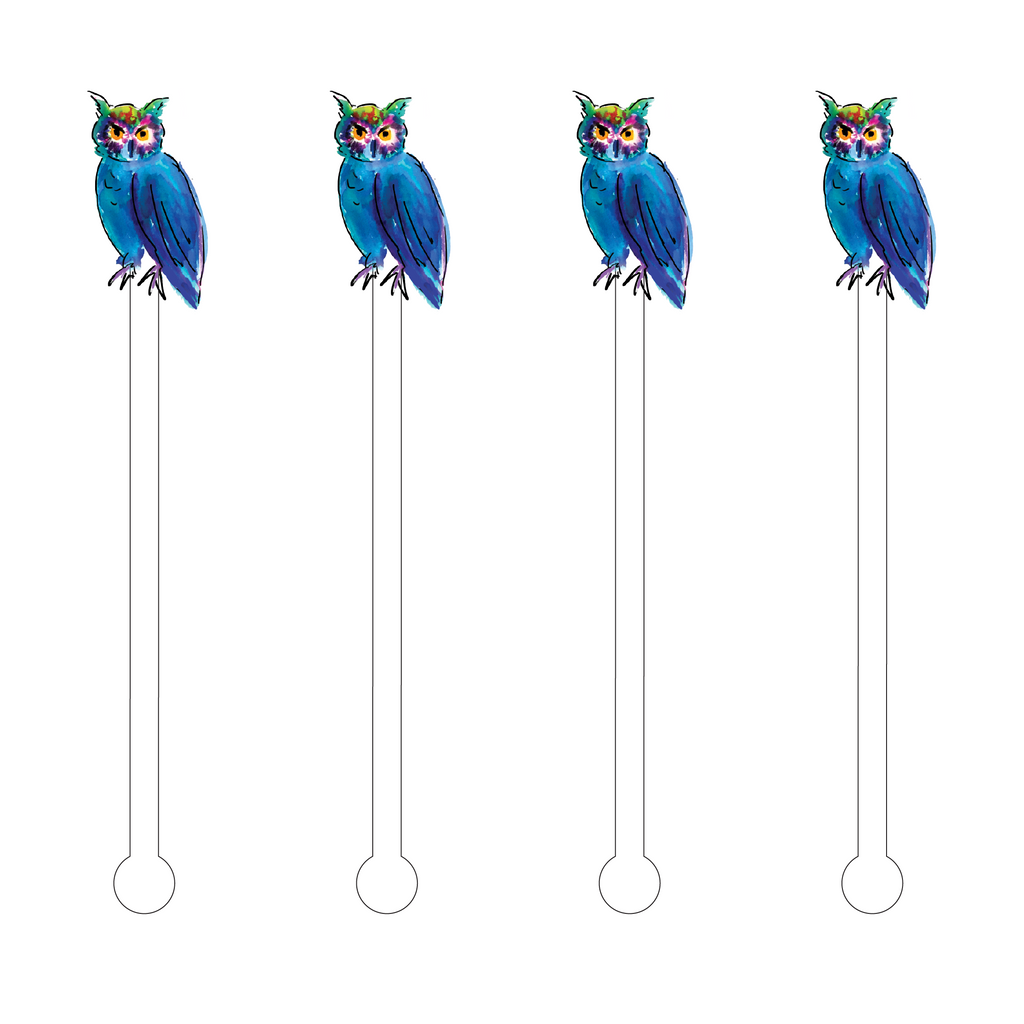 DK BLUE & GREEN WATERCOLOR OWL ACRYLIC STIR STICKS