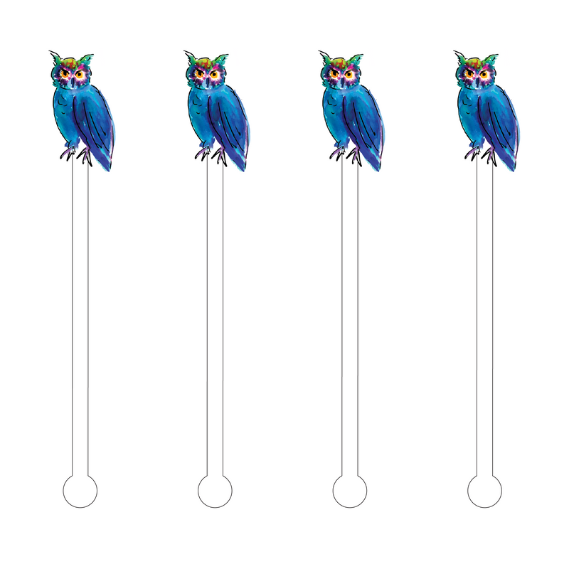 DARK BLUE & GREEN WATERCOLOR OWL ACRYLIC STIR STICKS
