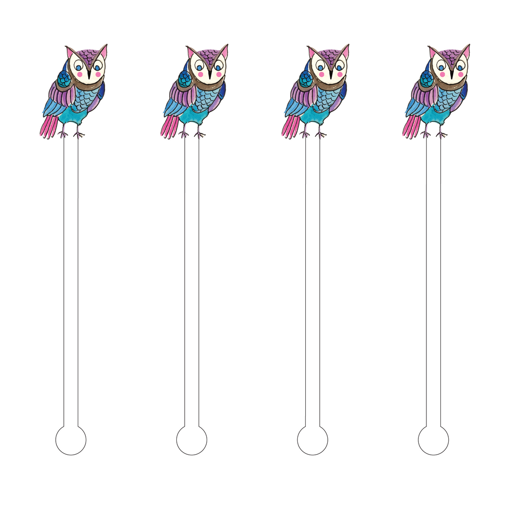 VINTAGE OWL ACRYLIC STIR STICKS