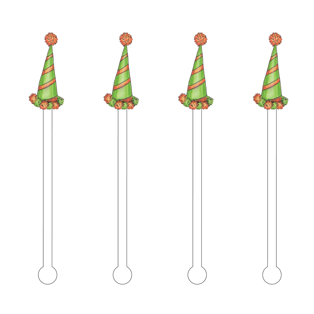 PARTY HATS ACRYLIC STIR STICKS: 3 STYLES