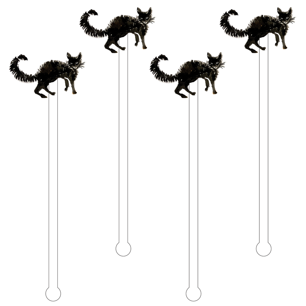 BLACK CAT ACRYLIC STIR STICKS