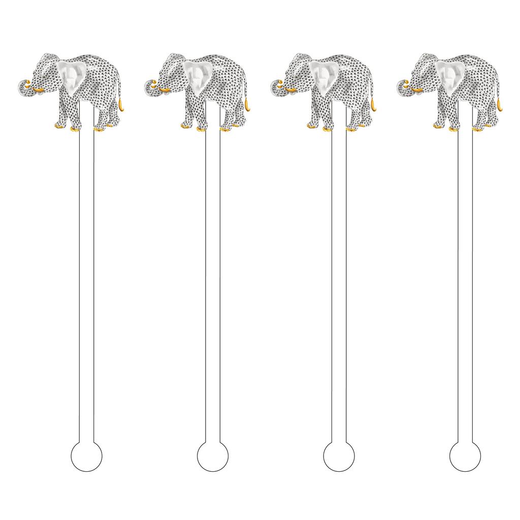 BLACK HEREND ELEPHANT ACRYLIC STIR STICKS