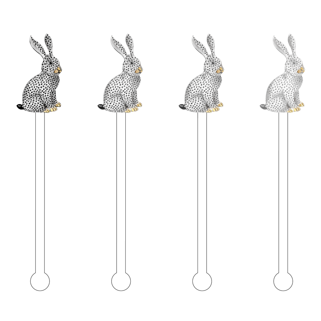 BLACK OMBRE HEREND BUNNY ACRYLIC STIR STICKS COMBO*