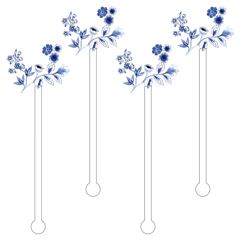 BLUE & WHITE BLOOMS ACRYLIC STIR STICKS