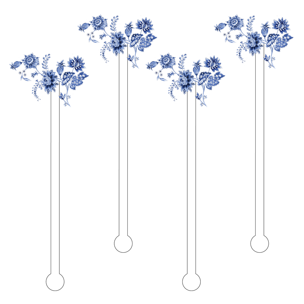 BLUE & WHITE EXOTIC FLOWERS ACRYLIC STIR STICKS
