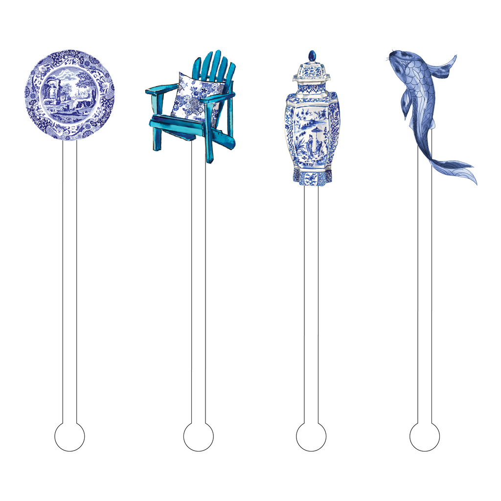 BLUE & WHITE FOREVER ACRYLIC STIR STICKS COMBO