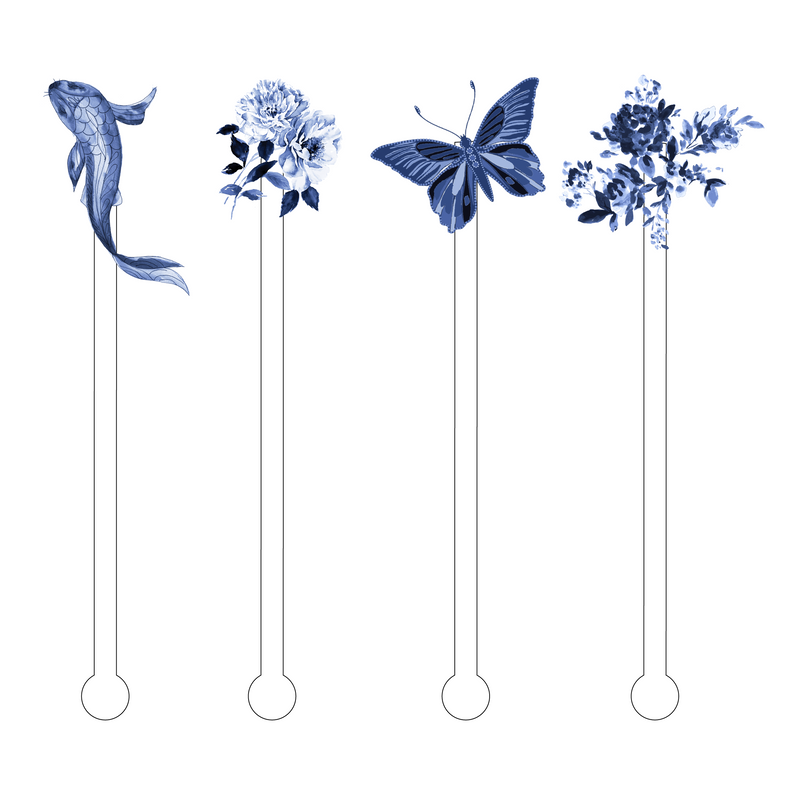 BLUE + WHITE NATURE ACRYLIC STIR STICKS COMBO