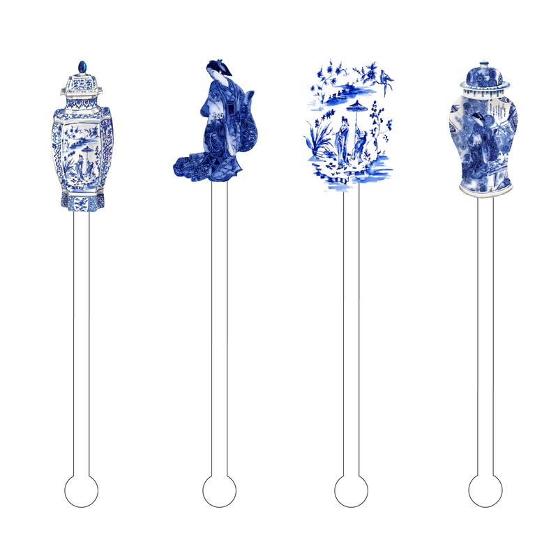 GEISHA BLUE & WHITE ACRYLIC STIR STICKS COMBO
