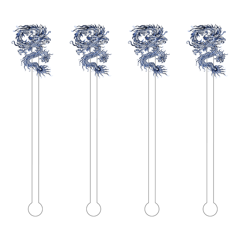 BLUE CHINOIS DRAGON ACRYLIC STIR STICKS