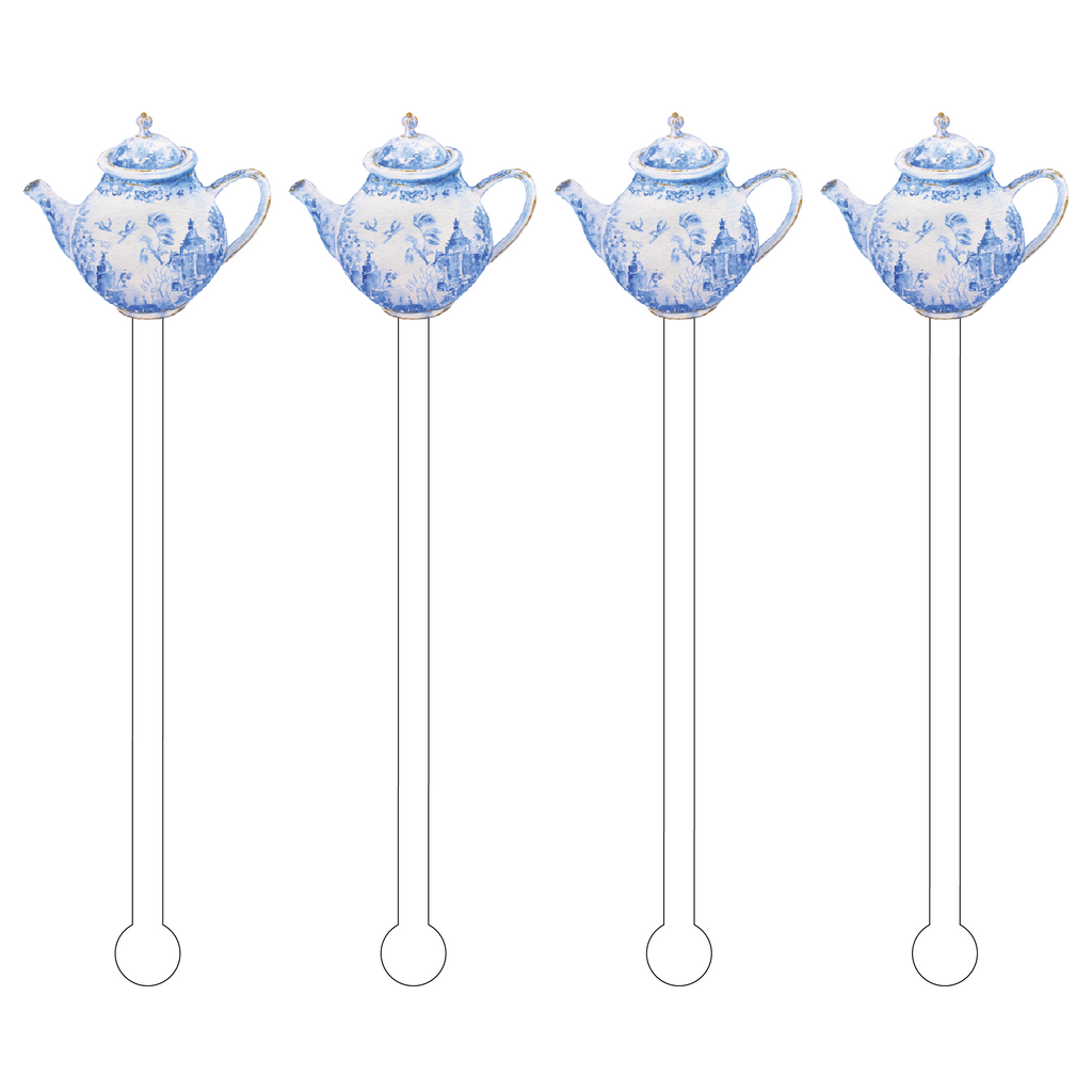BLUE & WHITE TEAPOT ACRYLIC STIR STICKS