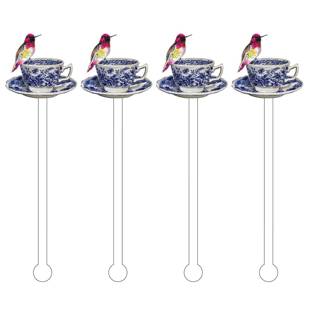 BLUE + WHITE BIRD TEACUP ACRYLIC STIR STICKS