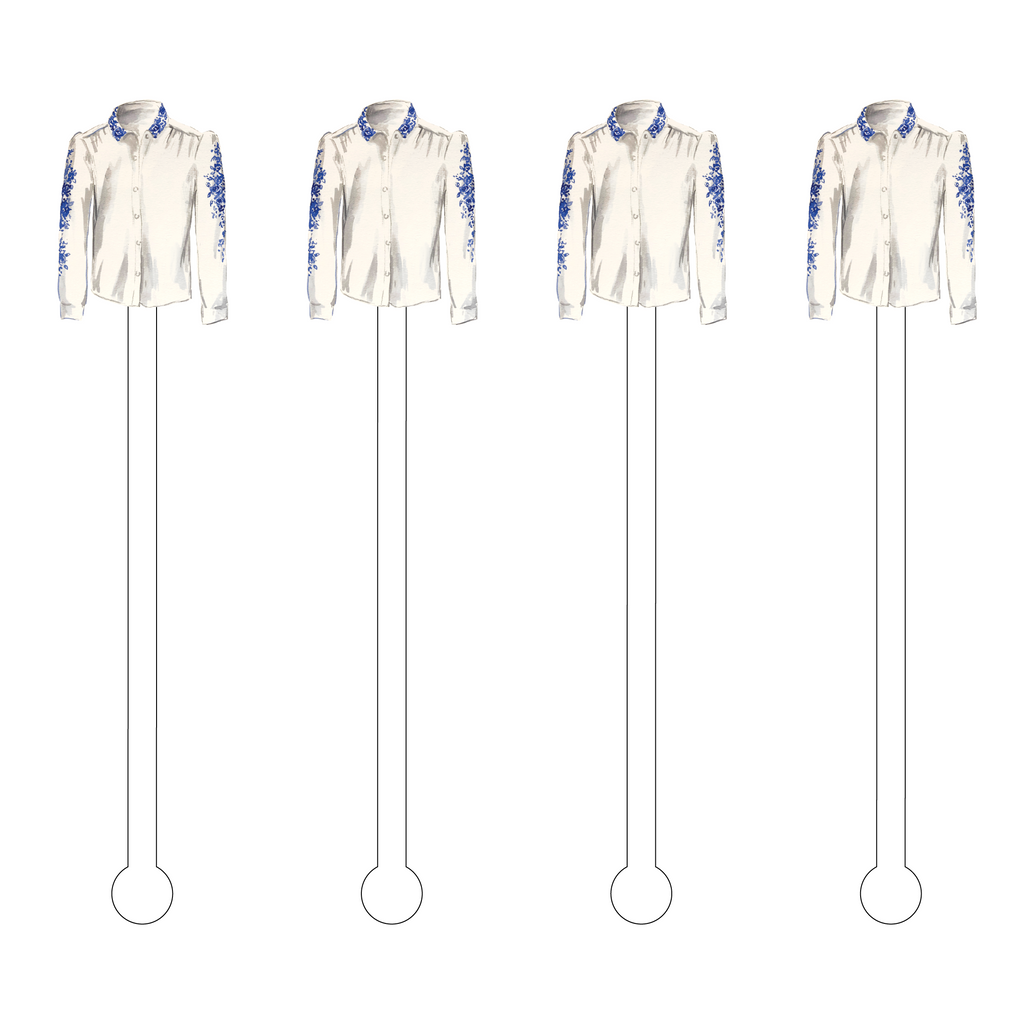 BLUE & WHITE ROSE BLOUSE ACRYLIC STIR STICKS