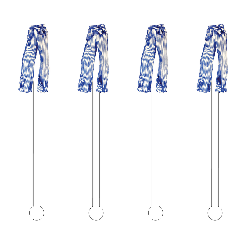 BLUE & WHITE STRIPE TROUSERS ACRYLIC STIR STICKS