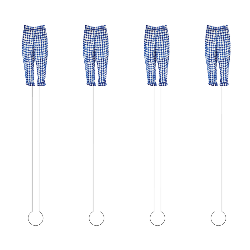 BLUE & WHITE GINGHAM CAPRI ACRYLIC STIR STICKS