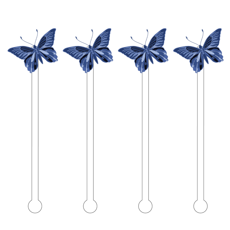 BLUE BUTTERFLY ACRYLIC STIR STICKS