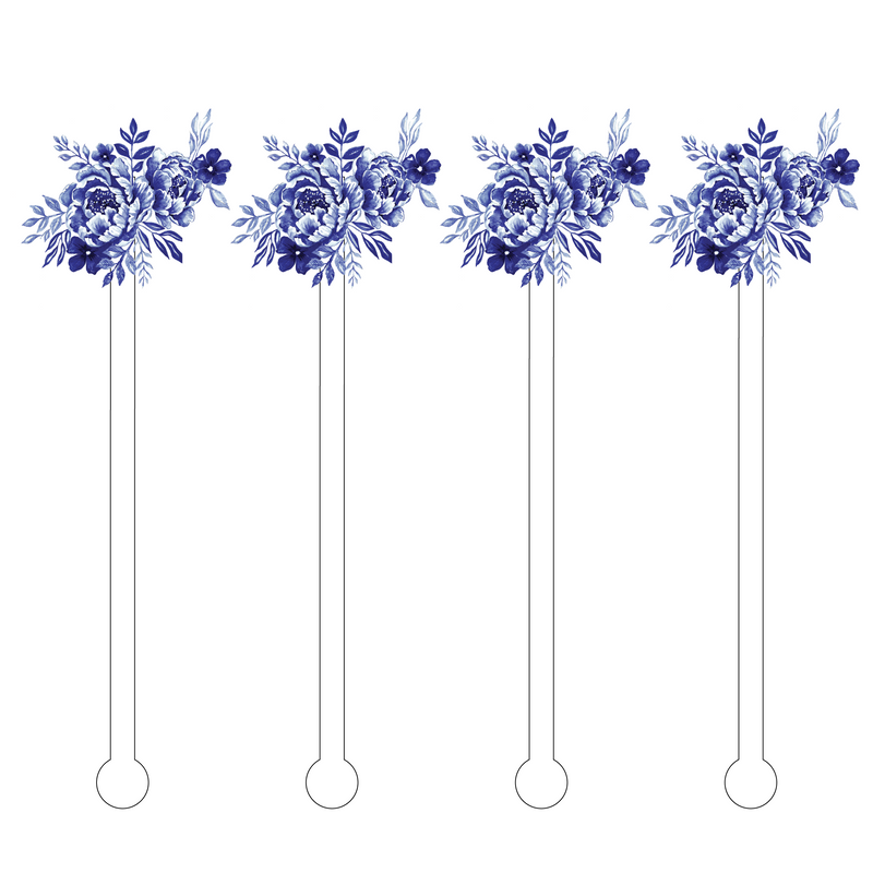 BLUE + WHITE ROSE ACRYLIC STIR STICKS