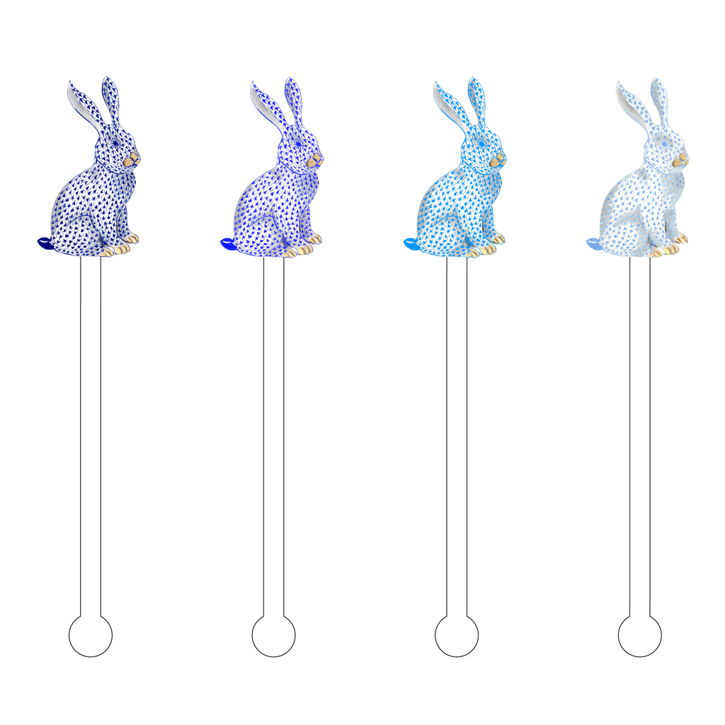 BLUE OMBRE HEREND BUNNY ACRYLIC STIR STICKS COMBO*