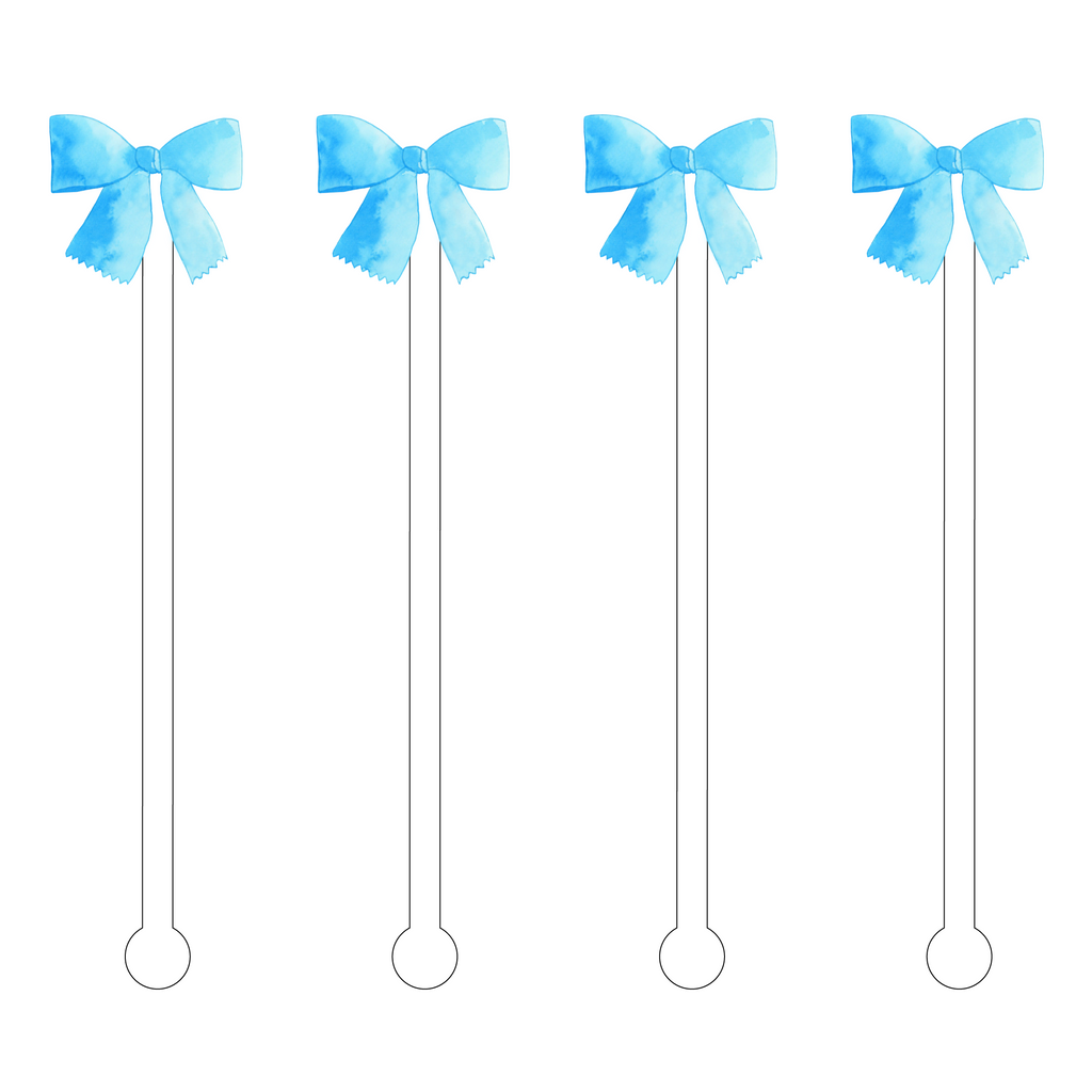 BLUE BOW ACRYLIC STIR STICKS