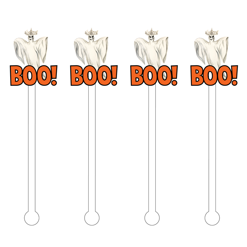 BOO! AVANT GHOST TEXT ACRYLIC STIR STICKS