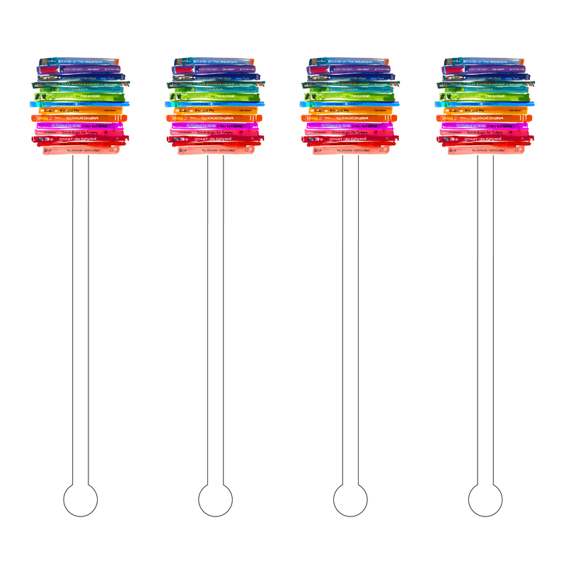 COLORFUL STACK OF BOOKS ACRYLIC STIR STICKS