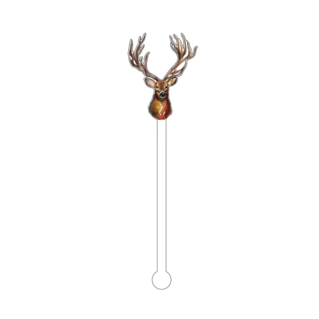 DEER MOUNT ACRYLIC STIR STICK